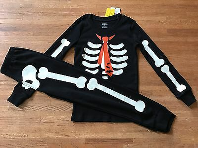 NEW Gymboree Halloween Boy Black Glow Dark skeleton tie bats pajamas costume NWT