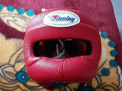 Winning Boxing Headgear FG-5000 Red Full Face head guard size M Authentic