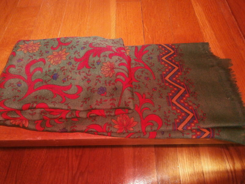 "Scarf Green with red/yellow/blue floral pattern measures approx. 46"" x 46"""