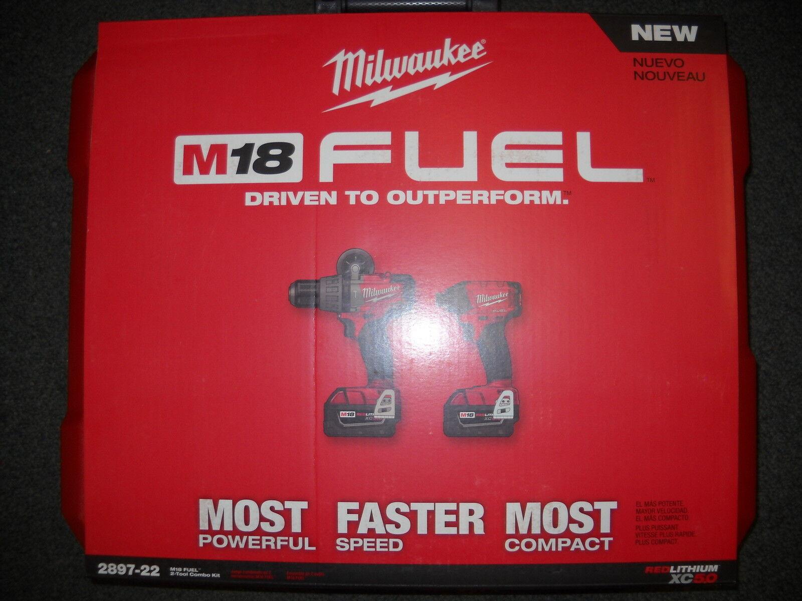 Milwaukee 2897-22 M18 Cordless Brushless Hammer Drill Impact Driver 2X 5.0ah NEW