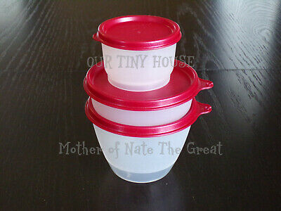 Vtg Tupperware Lunch Set Refrigerator Little Wonders Bowl & Snack Cup Jewel Red