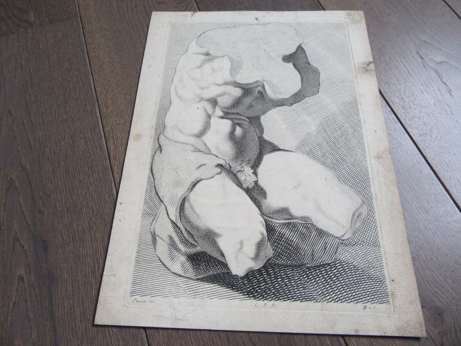 GRANDE GRAVURE XVIIIème BUSTE ANATOMIE