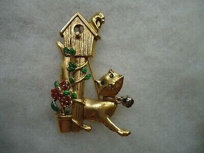Danecraft vintage gold tone cat flower bird house enamel pin -
