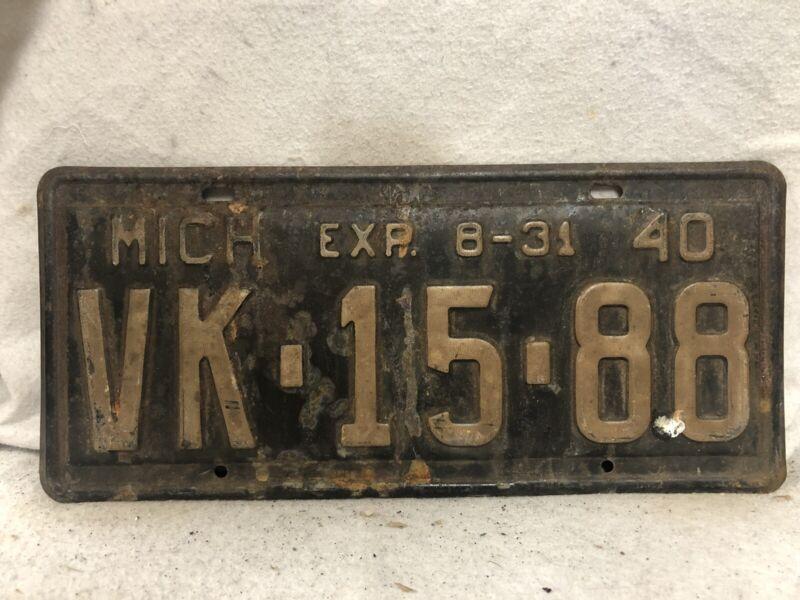 Vintage 1940 Michigan License Plate
