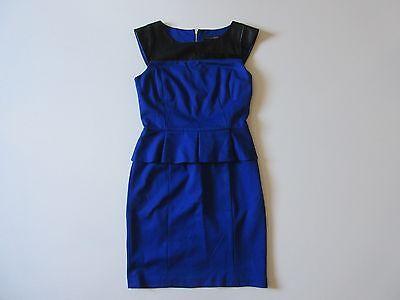 Trim Ponte Knit Dress (Cynthia Steffe Blue Ponte Knit Faux Leather Trim Cap Sleeve Peplum Dress 6)