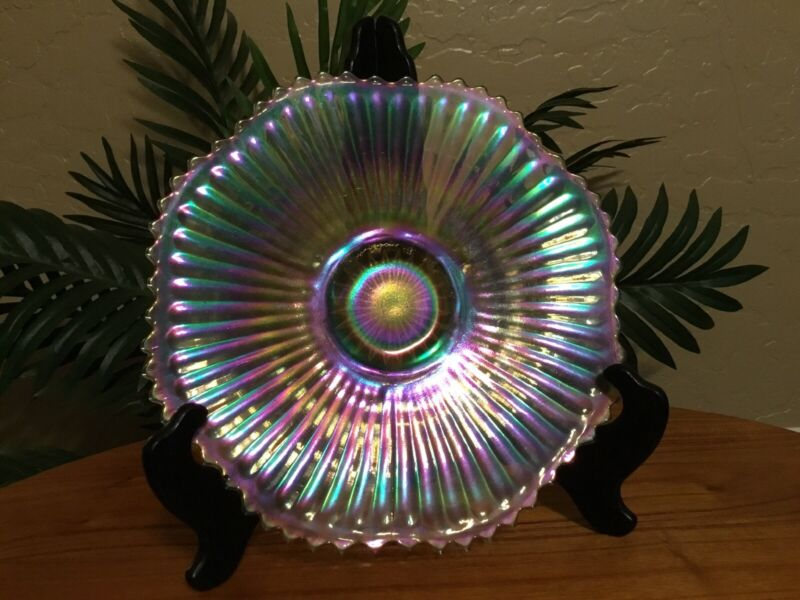 Vintage Federal Celestial Clear Iridescent Scalloped Carnival Plate
