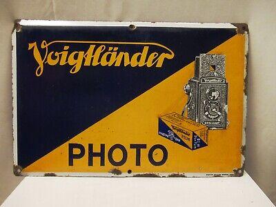 "Vintage Voigtländer Camera & Film Roll Sign Board Porcelain Enamel Germany Rare"""