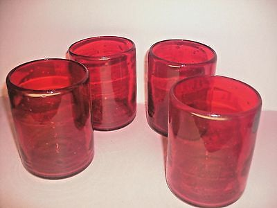 Set of 4 Mexican Ruby Red Hand Blown Cocktail Highball Drinking Glasses 10 oz