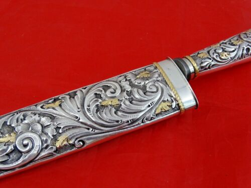 GORGEOUS GAUCHO KNIFE SILVER / 14K GOLD Argentina South America Dagger Sterling