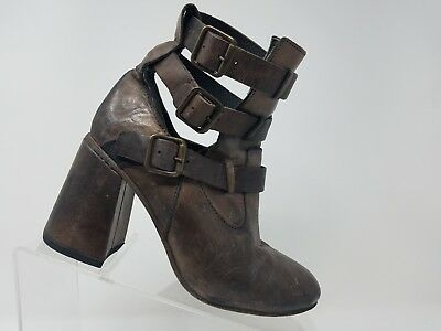 Leather Womens Teddy (Freebird By Steven Teddy Womens Ankle Boot Size 6 Brown Leather Buckle  )