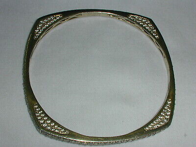 SONIA BITTON STERLING SILVER VERMEIL SQUARE ROUND CZ BANGLE BRACELET!