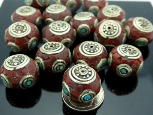 Vintage Nepalese Natural Inlaid Coral Turquoise Rondelle Pendant Focal Bead 1 Pc