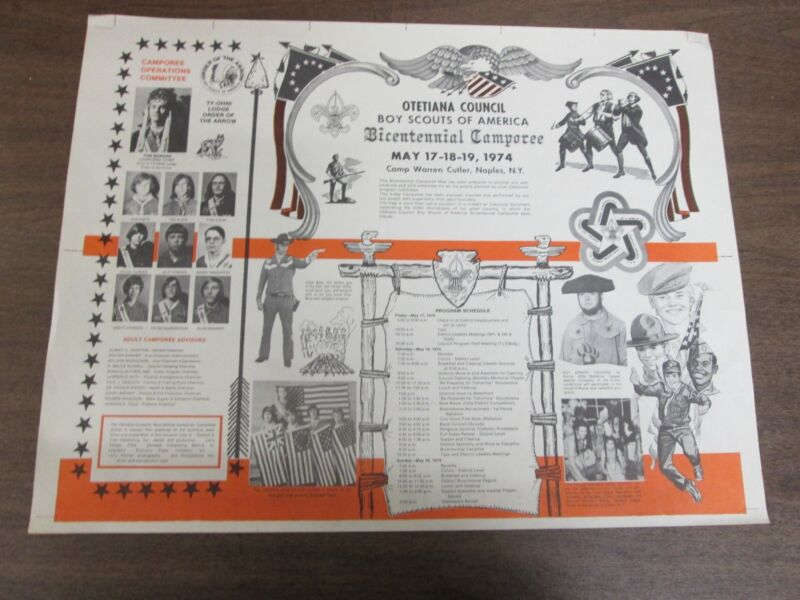 BSA 1974 Otetiana Council Boy Scouts of America Bicentennial Camporee Poster