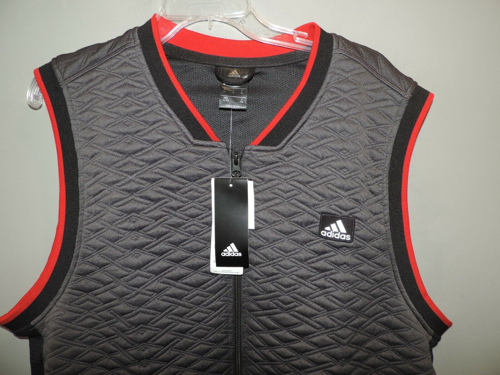 Mens Adidas Gray Red Quilted Golf Sports Full Zip Vest SZ XL