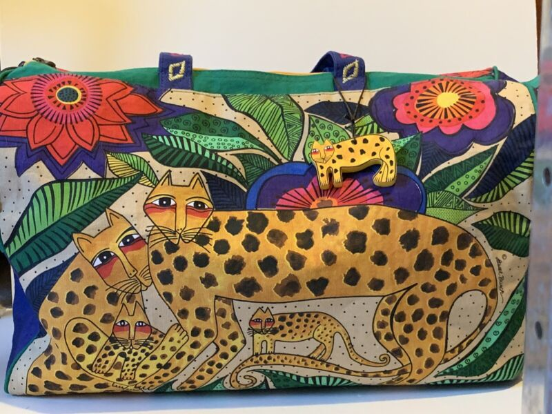 Laurel Burch Folklorica Leopards of Shambala Travel Bag Zipper Top Footed Bottom
