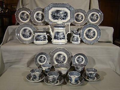 Rare Antique Staffordshire 24 Pieces Mulberry Missouri Coffee Dessert Set