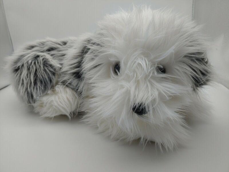 """F.A.O. Schwarz Grey & White Shaggy English Sheepdog Puppy Dog Stuffed Plush 17"""""""
