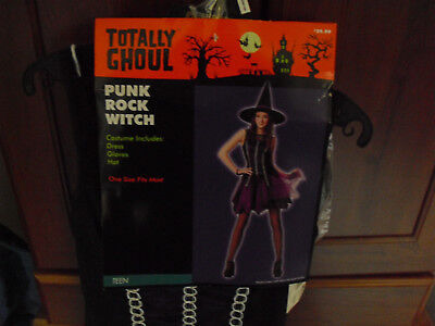 Punk Rock Halloween Costume Girl (New Adult Halloween Costume Totally Ghoul Punk Rock Witch Girl Size)