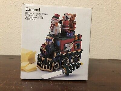 Cardinal Painted Resin Stainless Steel Spreader Set Locomotive Train Christmas