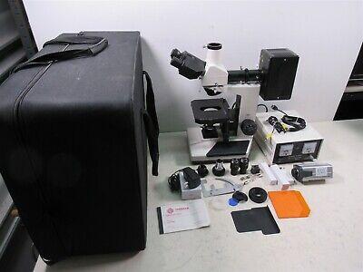 Vanguard Trinocular Microscope W Mercury Lamp Power Supply Case Metallurgical