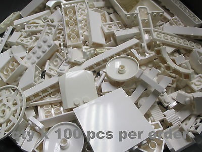 100 Pcs White LEGO Random Pieces from Huge Bulk Lot of Bricks Plates Assorted