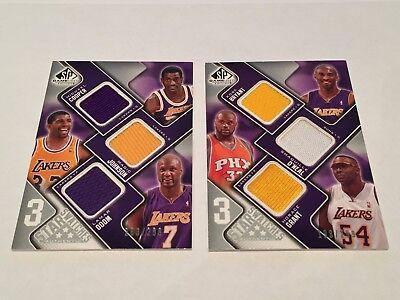 SP GU 3 Star Swatches 2009-10 Patch Magic Johnson Kobe Bryant O'Neal Lot (2)