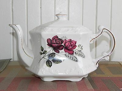 Vintage Ellgreave Wood & Sons England Ironstone Six Sided Teapot Pink Roses