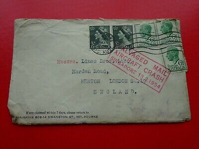 AUSTRALIA -  Mail cover to London England - `Salvaged Mail Aircraft Crash`