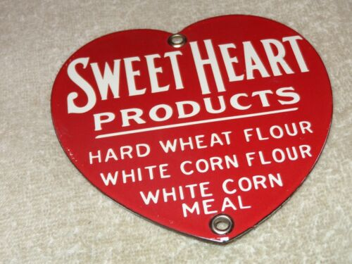 """VINTAGE SWEET HEART PRODUCTS 5"""" PORCELAIN METAL SWEETHEART CORN FLOUR WHEAT SIGN"""