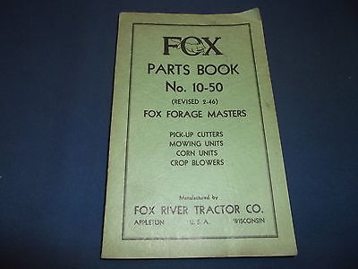 Fox Cutter Mower Crop Blower Corn Unit Forage Master Parts Book Manual No 10-50