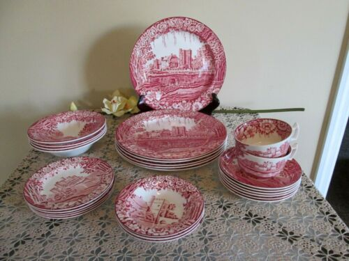 26 Pieces Antique Enoch Woods English Scenery Castle Dishes Red England