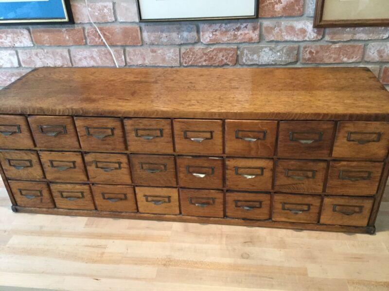 Antique Oak General Store 24 Bin Drawer Cabinet Organizer