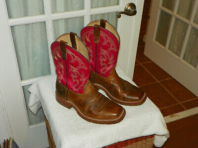 Double H Square Toe Roper Red & Brown DH3556 Boots Men's size 10 EE Made In USA