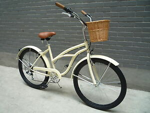 26-New-Beach-Cruiser-Lowridger-Bicycle-Bike-Blue-Cream-Purple-red-womans-ladies