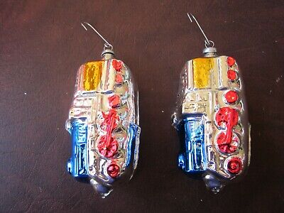 Vintage Set of 2 Glass Ornaments from West Germany- Train Locomotive