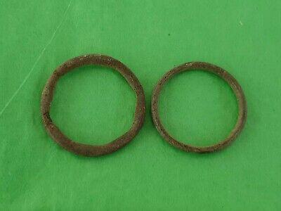 Lovely pair of Celtic bronze money rings. A must read description. L33i