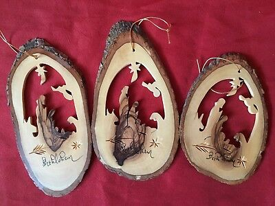 Lot of 3 Christmas Nativity Manger Ornaments - Handmade Genuine Olive Wood Slice