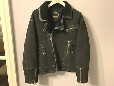 VINTAGE 90s SONE SHEEPSKIN SUEDE LEATHER MOTORCYCLE JACKET SIZE M