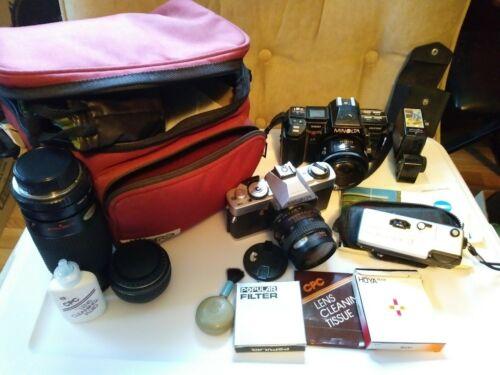 Minolta XGA SLR 35mm Film Camera SUPER BUNDLE 4 Lenses Case Accessories VCG - $75.00
