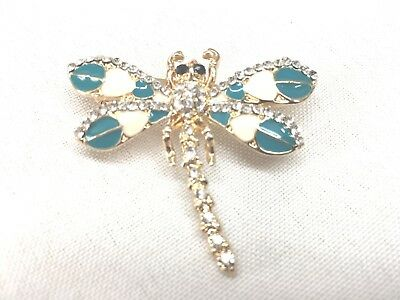 Teal dragonfly Brooch pin 1.75