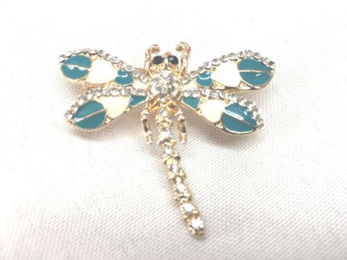 "Teal dragonfly Brooch pin 1.75""x1.5"" GIFT gold tone Mothers Day idea #17 spring"