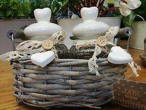 CESTINO-VIMINI-grigio-2-BARATTOLI-VASETTO-VETRO-coperchio-ceramica-CUORE-Shabby