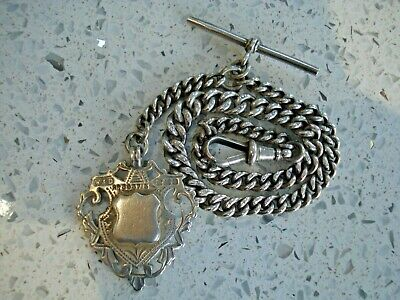 1923 Solid Silver Graduated Albert Pocket Watch Chain & Fob 26.4g