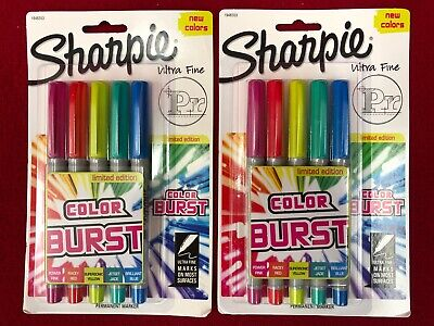 Brand New Lot Of 2 Sharpie Color Burst Permanent Marker Ultra Fine Point 5 Packs