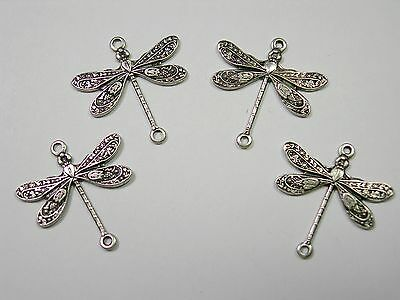Silver plated Dragonfly Victorian Connectors Drops Earring Findings 4 Dragonfly Silver Plated Charms