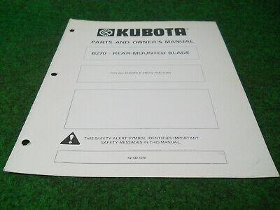 Kubota B270 Rear Mounted Blade Owners Manual For B Series