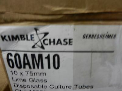 60am10 Kimble Chase Disp Culture Tubes 10 X 75mm. Lime Glass