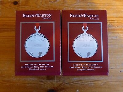 Reed & Barton 2016 Silver Plated Holly Bell Set of 2 Ornaments ()