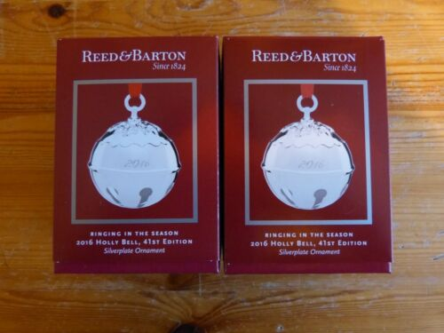 Reed & Barton 2016 Silver Plated Holly Bell  2 Ornaments