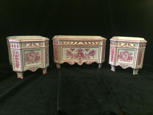 Antique French Gien Faience Pink Transferware Assembled Cachepot Garniture